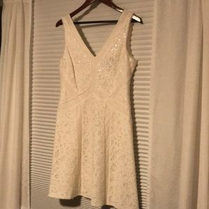 BCBG Dresses - White sequined lace BCBG dress